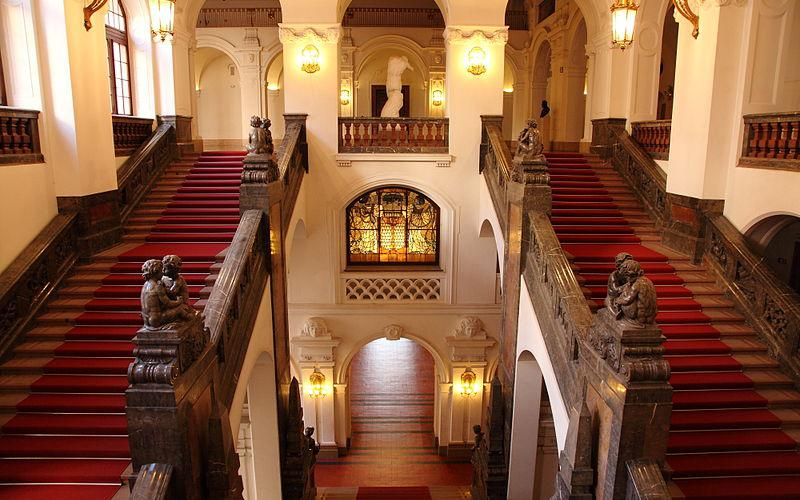 莱比锡新市政厅: 往上的楼梯  | Neues Rathaus Leipzig: Treppenaufgang