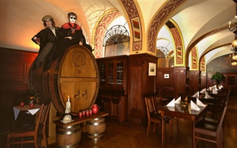 Auerbachs Keller Leipzig Mädlerpassage Wine barrel with Dr. Faust and Mephisto